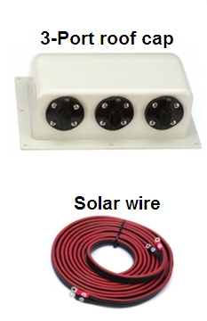 Three port roof cap & solar wire