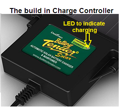 Built-in charge controller with LED charge indication