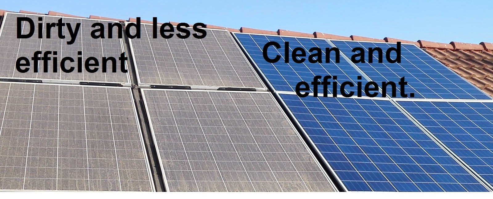 Clean panels for high efficiency.